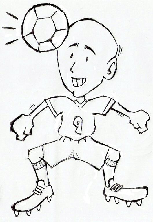 desenho de menino jogando bola para colorir